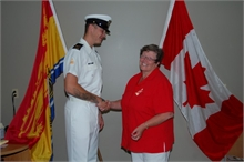 MP Tilly Gordon meets Leading Seaman Chris Hennebury, Brenda's son