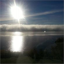 A layer of fog like a cloud over the Mighty Miramichi at 9am