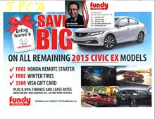 Purchased 2015 Civic From Kevin Doucette $50, Goes to SPCA
