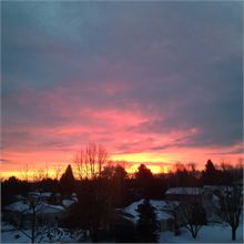 Red sky at dawn over South Fredericton