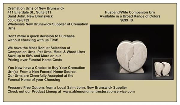 NEW BRUNSWICK WHOLESALE SUPPLIER OF ADULT CREMATION URNS