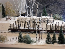 A diorama depicting the loading of spool wood on the Bartibogue, destined for England. On display at the Visitor Information Centre at French Fort Cove.