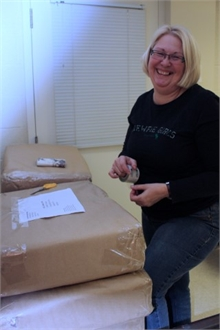 Sharon Best, NBCC student and parcel wrapper.