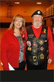 Brenda with Veteran Reg Pollock who helps each year.