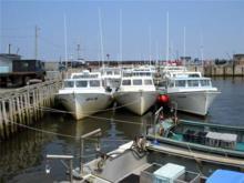 Boats docking at Escuminac Wharf