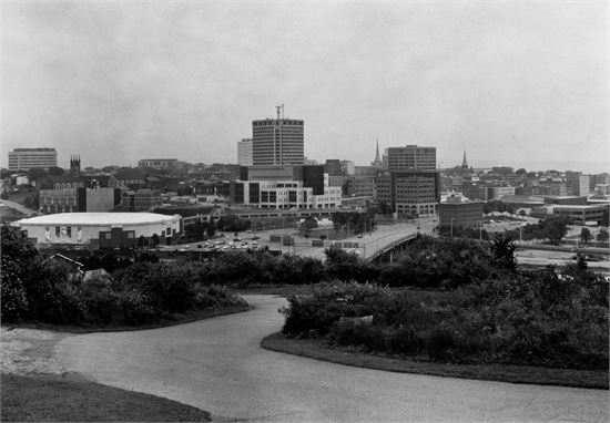 """Photo of Saint John taken with a 100 year old 8x10"""" camera."""