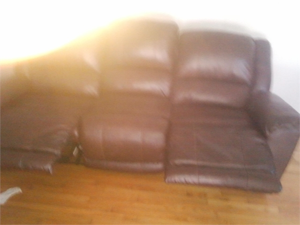 New Leather Reclining Couch and Chair
